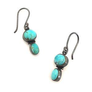 Vintage Turquoise Sterling Silver Dangle Earrings